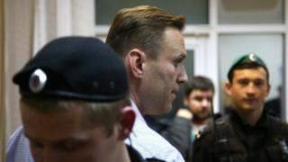 Russian opposition leader and anti-corruption blogger Alexei Navalny is seen during an administrative hearing, at Simonovsky district court in Moscow (02 October 2017)
