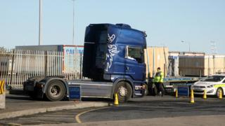A blue lorry cab driven by the 22-year-old was seized at Dublin Port on Saturday.