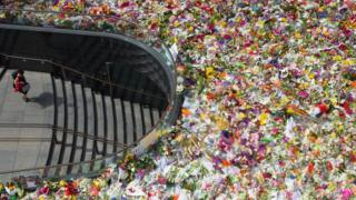A view of Martin Place where thousands of floral tributes lay last December for deceased hostages Tori Johnson and Katrina Dawson