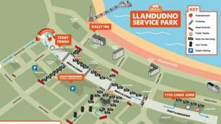 Cambrian Rally service area map showing Llandudno promenade