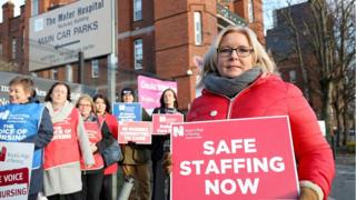 Nurses and RCN staff outside the Mater Hospital, Belfast on 11.12.2019