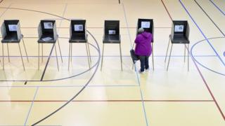 Lone woman in gym votes in North Carolina