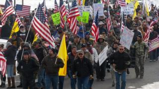 Protesters in Burns in the US, angry at the prosecution of father and son ranchers