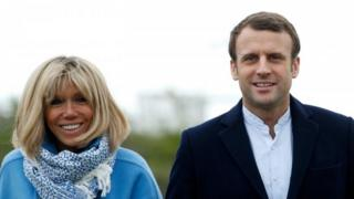 French President Emmanuel Macron and his wife Brigitte Macron