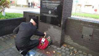 A wreath being laid on Friday at the Tank Memorial Ypres Salient