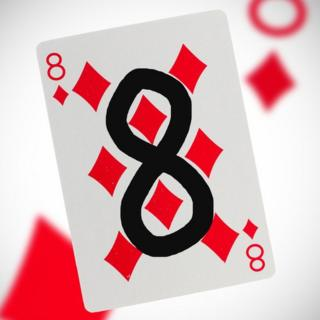Playing card of eight of diamonds with the eight drawn onto it