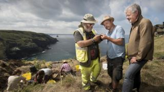 Archaeologists examining findings at the Tintagel Castle site