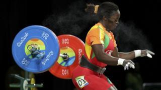 """On Wednesday Cameroon's Sonkbou Foudji fails a lift in the Women""""s (69kg) in Rio de Janeiro, Brazil."""