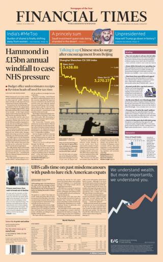 Financial Times front page - 23/10/18