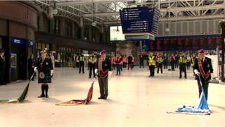 in_pictures The silence at 11:00 was marked inside Central Station in Glasgow