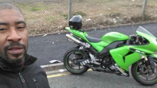 Patrick Jackson and his Kawasaki motorbike