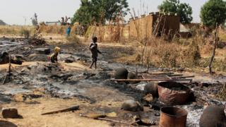 A town in northern Nigeria, attacked by Boko Haram