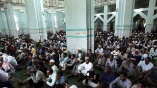 Ethiopian Muslims attend congregational Friday prayers at the Anwar Mosque in Addis Ababa