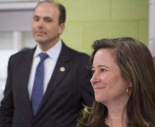 "Republican David Yancey and Democrat Shelly Simonds attend a ""take your legislator to school day"" at Heritage High School in Newport News, Virginia, 28 November 2017"