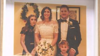 Vanessa and Andy Leach on their wedding day with daughters Emily and Sally
