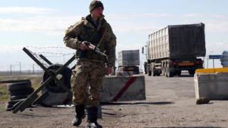 Ukrainian soldier on Crimea-Ukraine border, March 2014 file pic