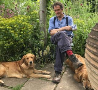 Monty Don with dogs Nellie and Nigel