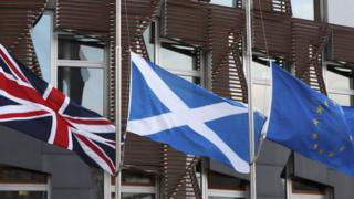 Flags outside the Scottish Parliament building