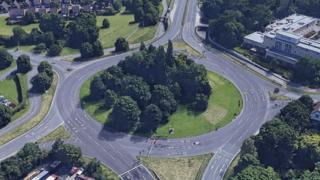 An image of the Arle Court roundabout