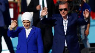 Turkish President Erdogan, accompanied by his wife Emine. Photo: May 2016