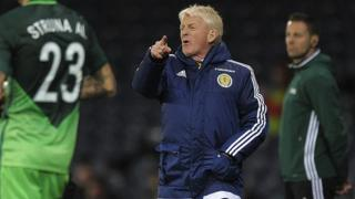 Scotland's manager Gordon Strachan gestures on the touchline during the World Cup 2018 qualification football match between Scotland and Slovenia at Hampden Park in Glasgow, Scotland