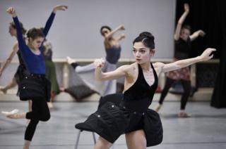 Rachael Gillespie and Northern Ballet dancers in rehearsals for Casanova