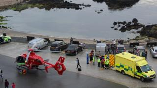 The scene of the rescue at Ballintoy Harbour