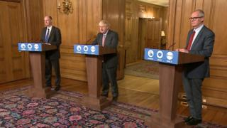 Boris Johnson, Chris Whitty and Sir Patrick Vallance