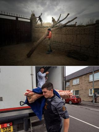 Photos showing Callum Wright in the army and as a butcher