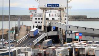lorries board a ferry at Dover