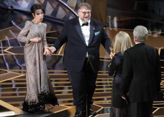 Guillermo del Toro and Sally Hawkins on stage