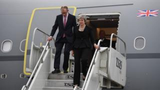 Theresa May and husband Philip arriving at CAF Bagotville airfield