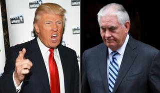 Collage photograph of Mr Trump at Apprentice event, and Mr Tillerson in a recent photograph