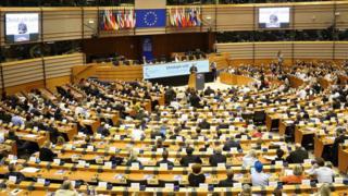 Sessão do Parlamento Europeu em Bruxelas