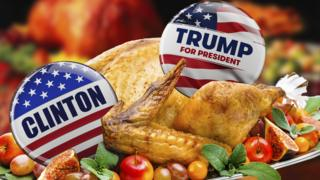 A Clinton badge and a Trump badge tucked into a turkey