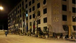 Un hotel colapsado en Hualien
