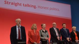 Jeremy Corbyn and other members of the National Executive Committee at last year's conference