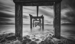 A view under the Old Pier in Aberdour, Fife, Scotland.