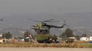 Suriye'de bir Rus askeri helikopteri