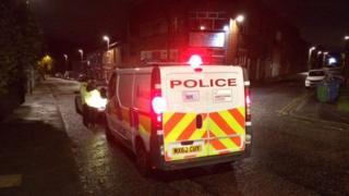 Sunrise team police van in a Rochdale street