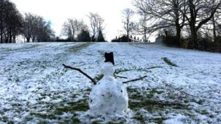 A snowman in Cotteridge Park, Birmingham