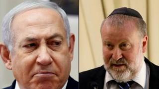 Benjamin Netanyahu kulia na Mwendesha mashtaka mkuu Avichai Mandelblit