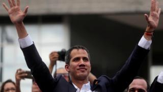 El líder opositor venezolano Juan Guaidó durante una concentración política en Caracas
