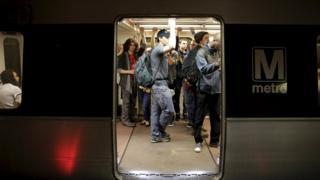 Commuters at Washington subway