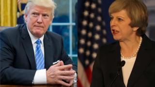Donald Trump y Theresa May.