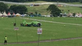 Air ambulance on site at Glastonbury Festival
