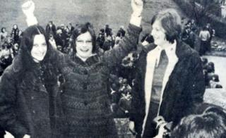 Theresa May (far right) seen in 1974