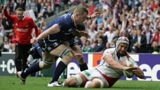 Dan Tuohy scoring a try for Ulster against Leinster during the 2012 European final at Twickenham