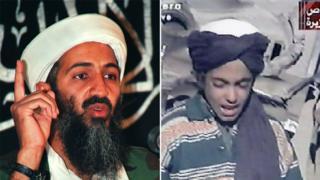 在右边这段2001年的录像画面中,哈姆扎还是个少年。左为本拉登资料照片。