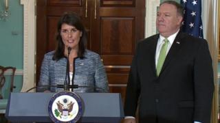 Nikki Haley and Mike Pompeo on 19 June 2018